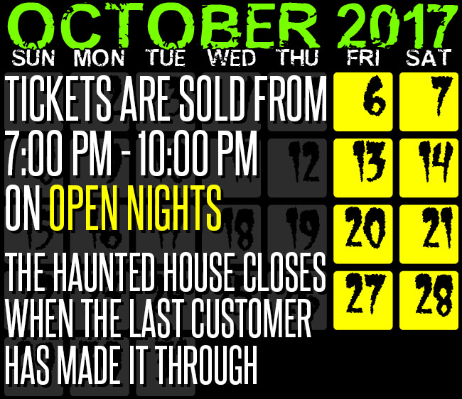 Chamber of Horrors 2017 schedule