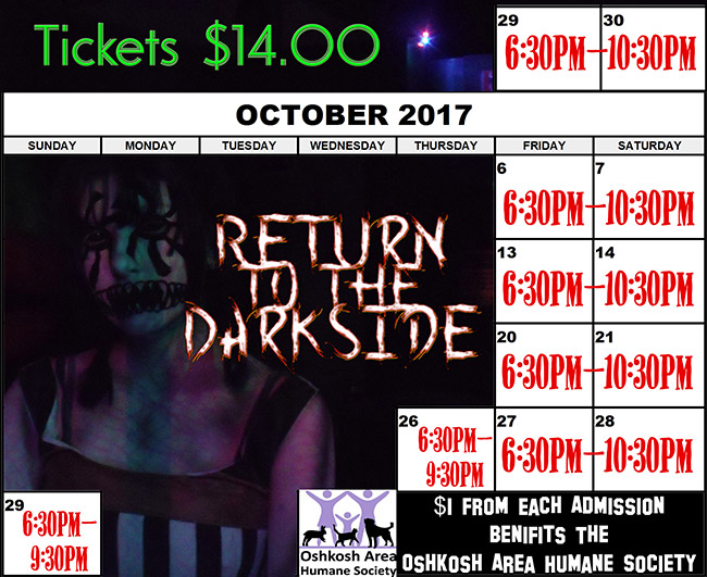 Misery Haunted House Halloween 2017 schedule