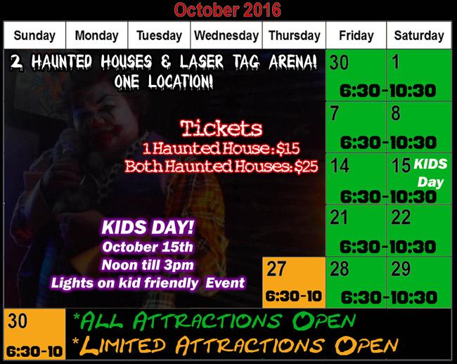 Misery haunted house 2016 Halloween schedule