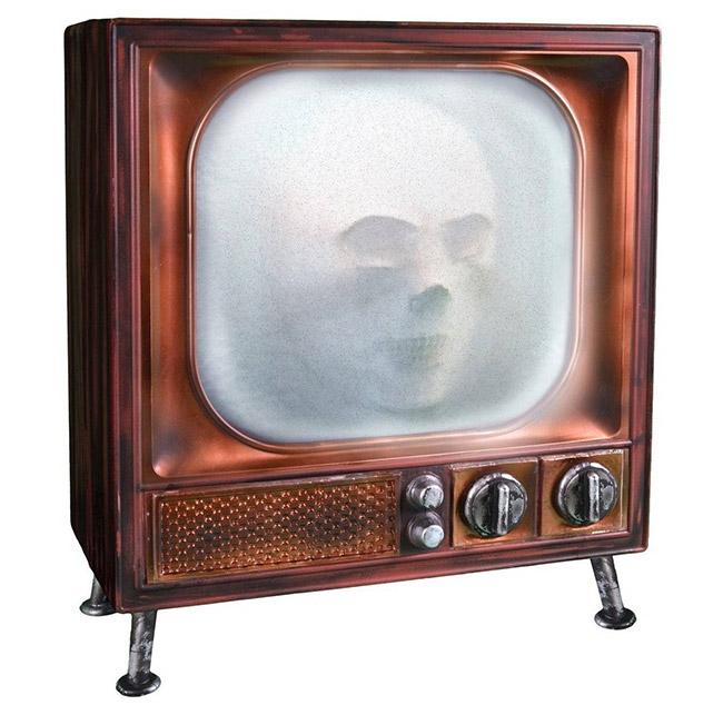 Creepy animated TV Halloween decoration