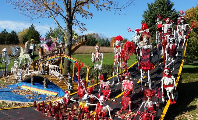 Holy Hill Skeletons Halloween display