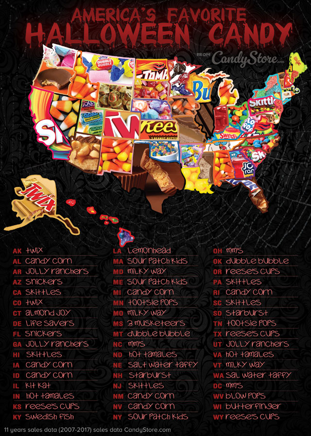 Map of America's favorite Halloween candy
