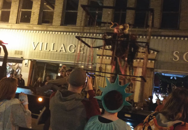 A caged Windigo at the Halloween parade