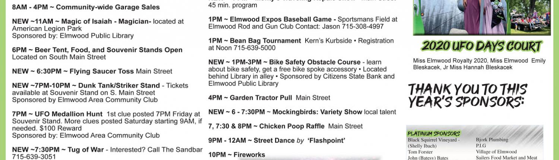 Elmwood UFO Days 2021 schedule