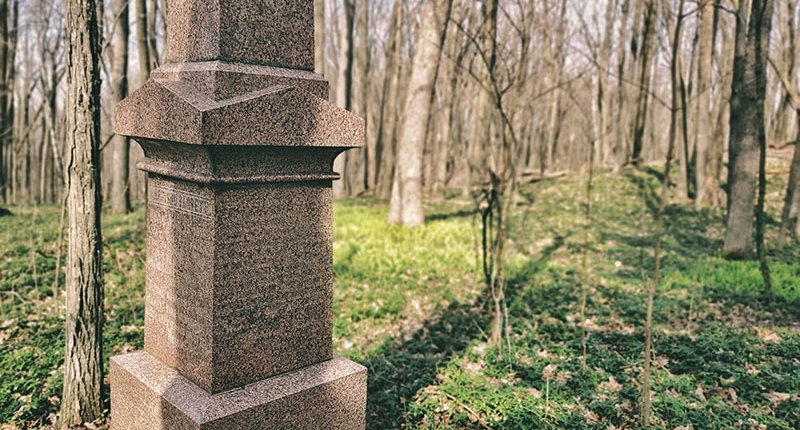 Gravestone in the woods at the edge of the cemetery