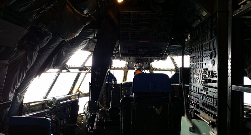 Cockpit of the C-97 Stratofreighter at the Don Q Inn