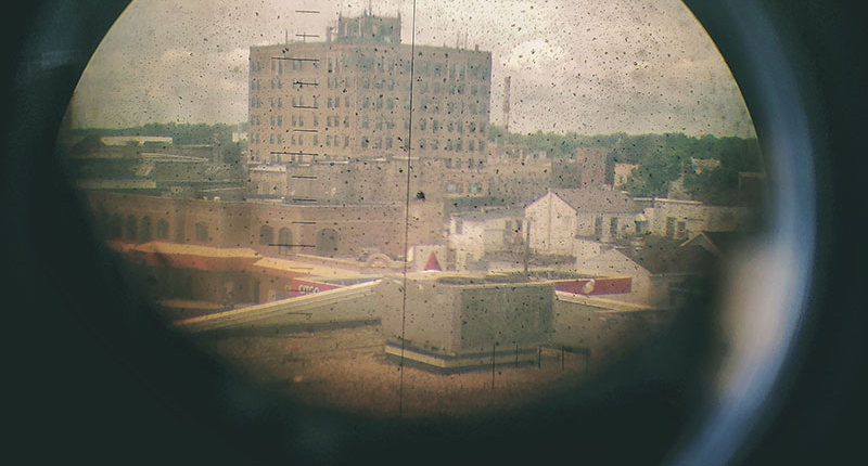 View of the haunted hotel from the Manitowoc Maritime Museum periscope