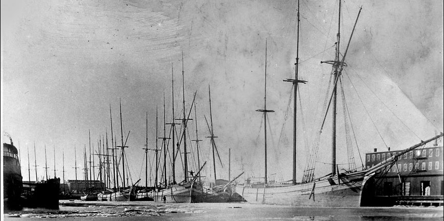 Lottie Cooper and other Great Lakes schooners on the Sheboygan harbor